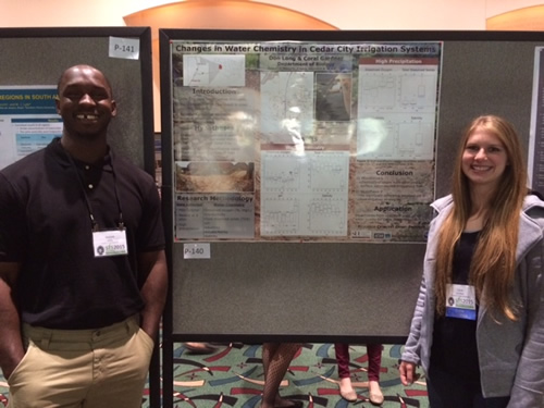 "Don and a colleague presenting an iUTAH research project, ""Changes in Water Chemistry Cedar City, UT"