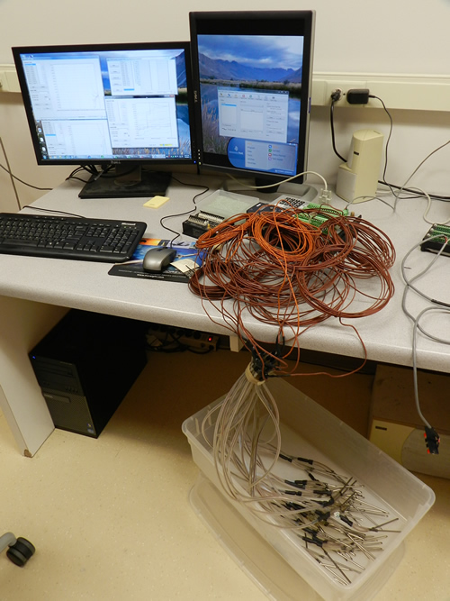 All of the thermocouples wired up for testing