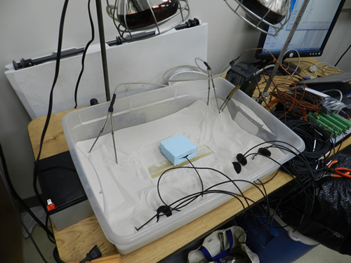 The current heat flux plate testing setup, utilizing a foam block