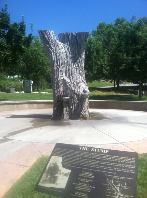"""The Stump"" statue in North Ogden"