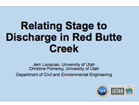 Relating Stage toDischarge in Red ButteCreek